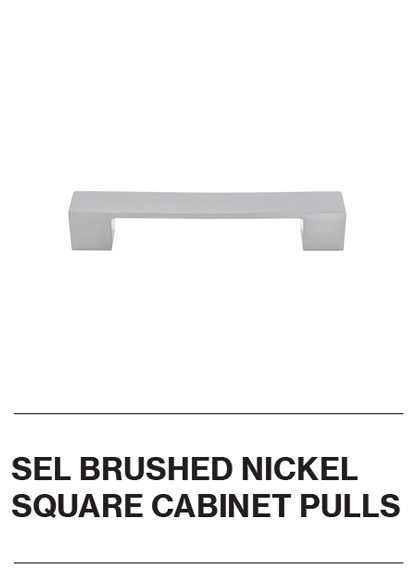 SEL Brushed Nickel Square Cabinet Pulls
