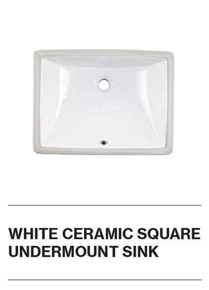 White Ceramic Square Undermount Sink