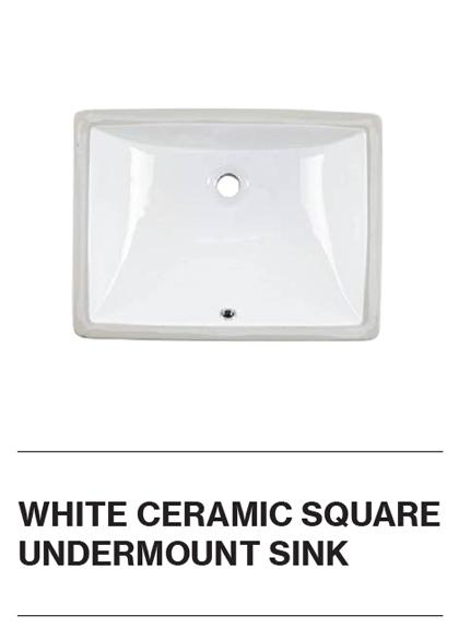 White Ceramic Square Undermount Sink